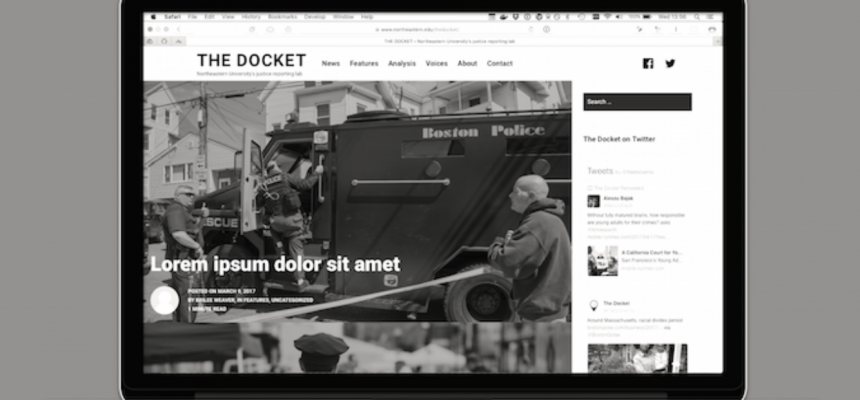 A mockup of The Docket website, via an article on Storybench
