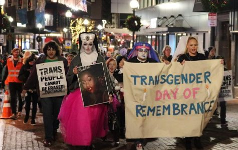 Protesters march through downtown Boston in honor of Transgender Day of Remembrance. Photo by Ysabelle Kempe