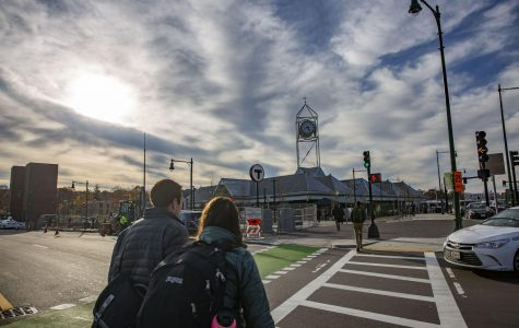Construction wraps up at the Forest Hills station, where pedestrians, cyclists and drives each have newly designated routes. Photo by Andy Robinson