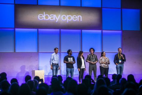 More Than Words Graduate Mehki Jordan on stage with other finalists for Small Business Awards at eBay Open. Photo courtesy of eBay.