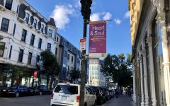 """Banners across the streets of Dudley Square pronounce, """"Dudley Square: the Heart and Soul of Roxbury."""" Photo by Eileen O'Grady."""