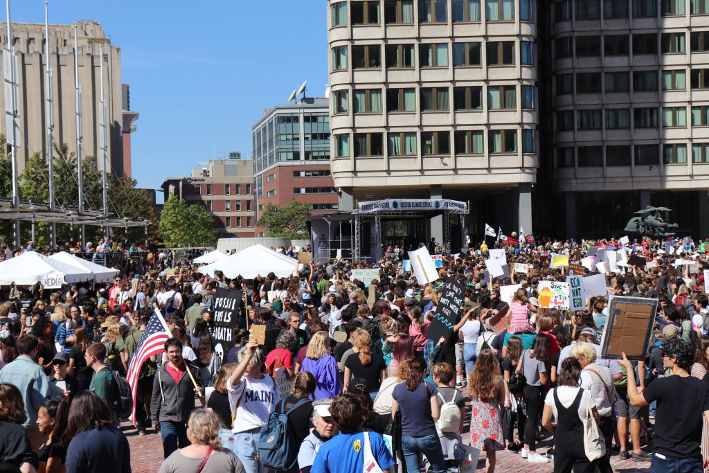 Massachusetts' students skipped school Friday Sept. 20 to attend the Climate Strike in Boston outside City Hall. Photo by Eileen O'Grady.