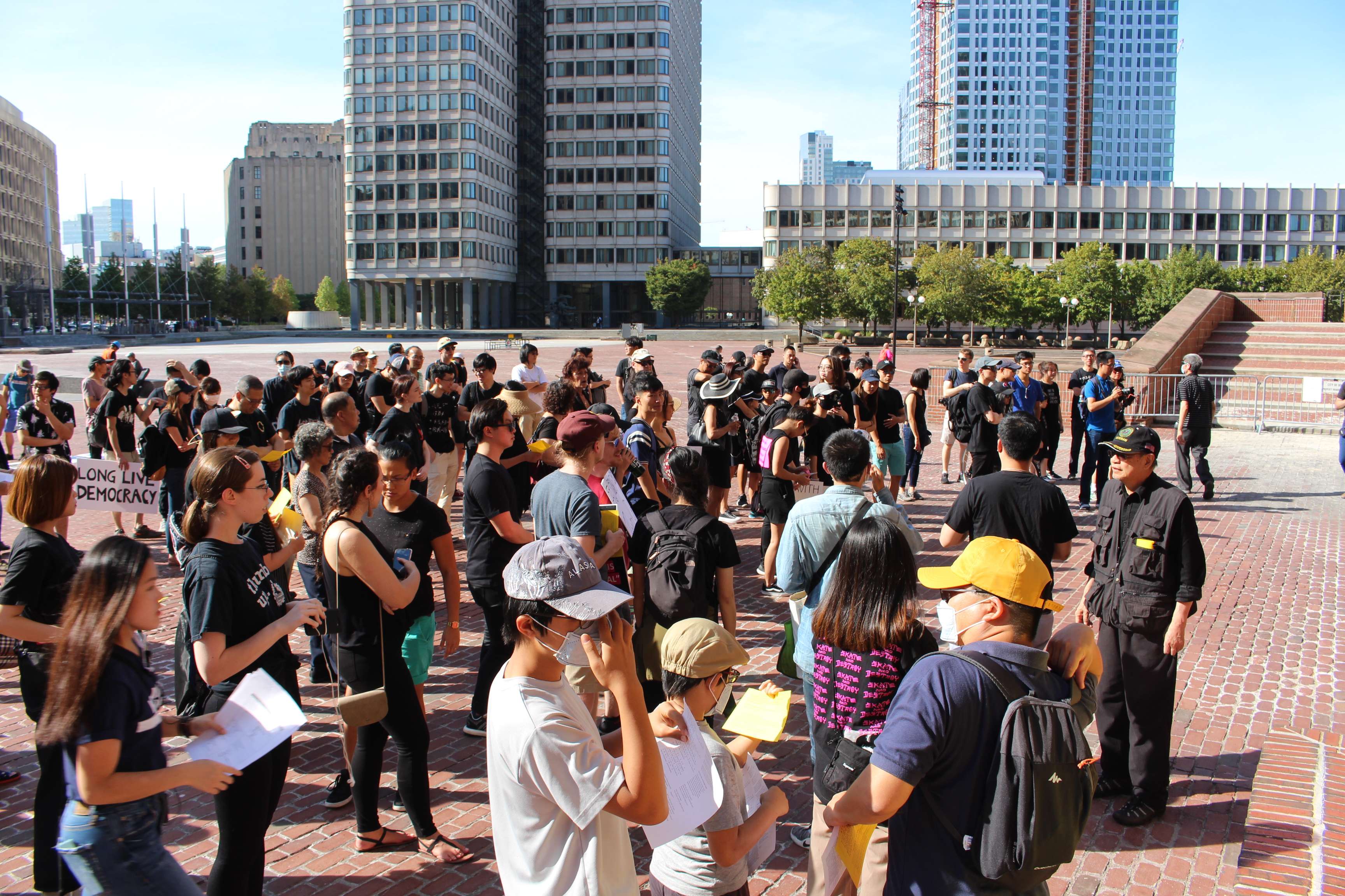Crowds gathered in City Hall Plaza on Sept. 22 in solidarity with protestors in Hong Kong. Photo by Lex Weaver.