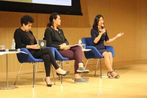 City Councilor at-large Michelle Wu (far right) as she discusses scrapping the MBTA fares. Next to her is City-Councilor at-large Annissa Essaibi-George (middle) and at-large candidate Julia Mejia (left).