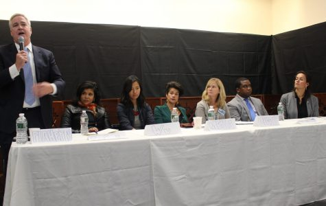 Candidates discussed affordable housing measures, including rent control. Above (left to right) Councilor Michael Flaherty, Alejandra St. Guillen, Councilor Michelle Wu, Julia Mejia, Erin Murphy, David Halbert, Councilor Annissa Essaibi-George. Photo by Alexa Gagosz.