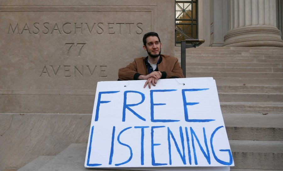 When time and weather permit, Kip Clark sits on the steps of MIT inviting passersby to speak with him. Photo by Jordan Erb.