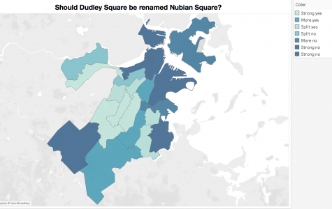 Map, built via Tableau by staff writer Jordan Erb using data from the provided by the Boston Election Department, shows which areas had the greatest levels of support for renaming Dudley Square.