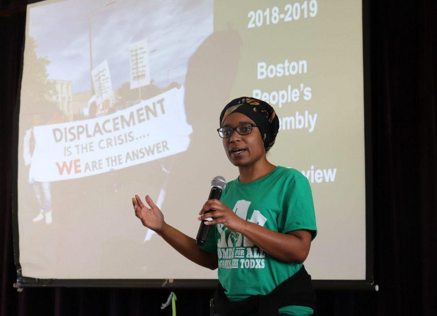 Lisa Owens, executive director of City Life/Vida Urbana spoke at the meeting last week. Photo by Eileen OGrady.