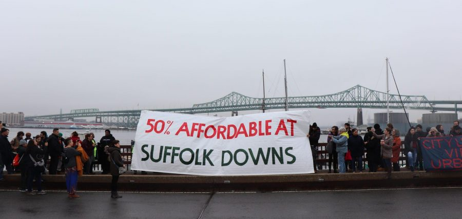 Protestors fighting back against new development, calling for more affordable housing in East Boston, Saturday Dec. 14. Photo by Eileen O'Grady.