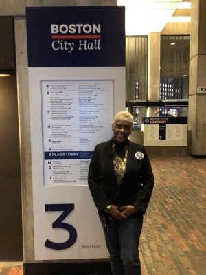 Mary Franklin, creator of Trauma Spa, visits City Hall to lobby support for her new venture. Photo by Matt Levin.