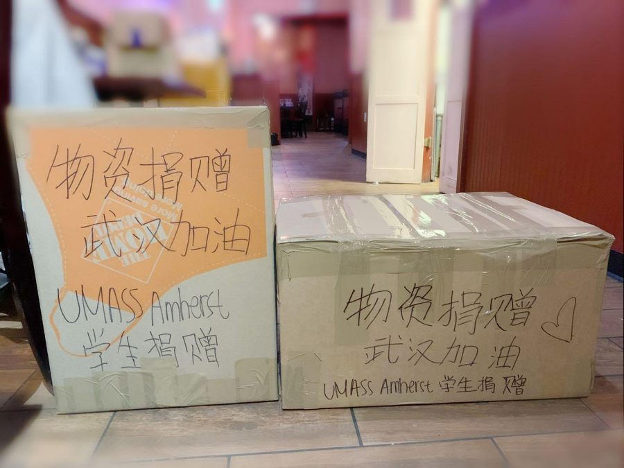 Boxes+of+surgical+masks+and+medical+supplies+wait+to+be+shipped+from+UMass+Amherst+to+Wuhan+China%2C+in+the+fight+to+contain+the+coronavirus.+Photo+by+Hiu+Yan+Ping.