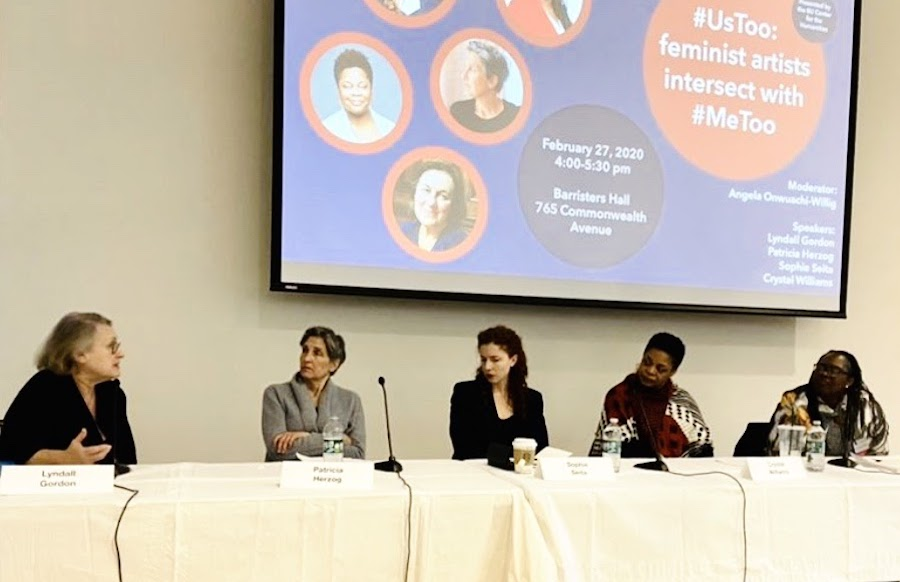 Panelists Lyndall Gordon, Patricia Herzog, Sophie Seita and Crystal Williams discussed the intersection of art and inclusive feminism at Boston University's Law School, Feb. 27.