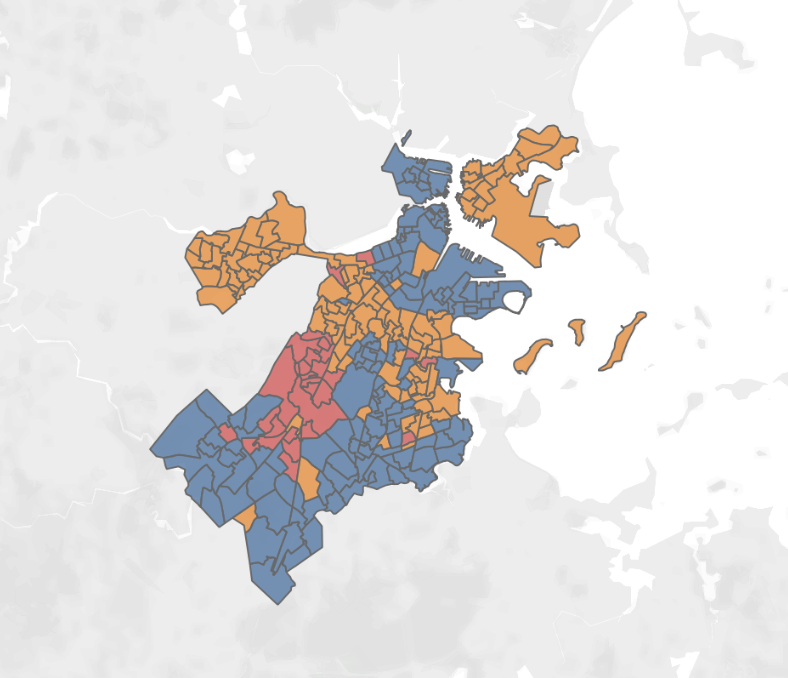 Map showing how each precinct in Boston voted. Built by Alexa Gagosz.