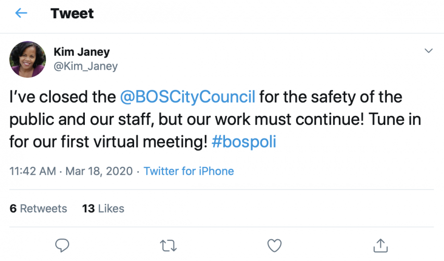 Screenshot of Boston City Council President Kim Janey's announcement to close City council meetings to the public. Image via Twitter.
