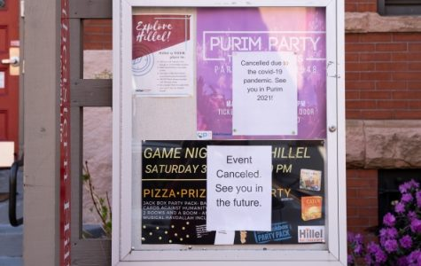 Signs outside the building where Hillel, a Jewish organization on Northeastern University's campus, meet, notifying students of cancelled events.