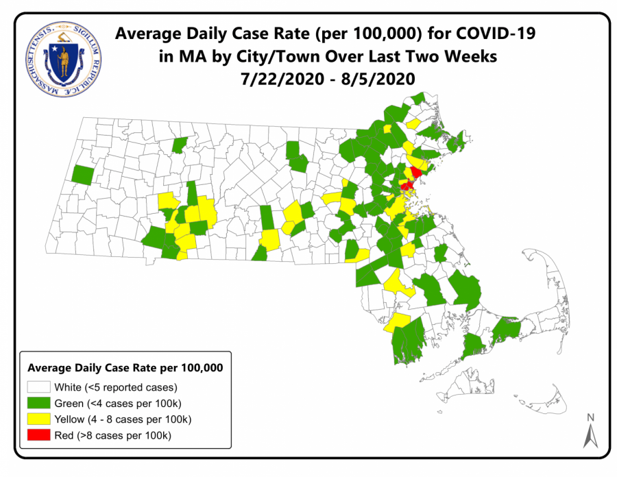 A map with higher risk, moderate risk, or lower risk community designation. Courtesy: Office of Governor Charlie Baker and Lt. Governor Karyn Polito