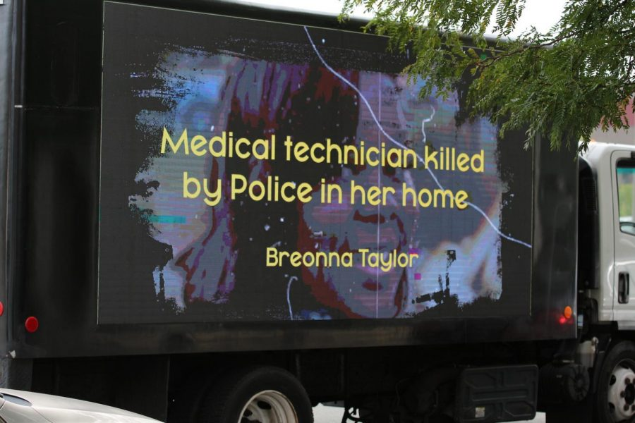 A sign remembering Breonna Taylor at the Protect Black Women rally.
