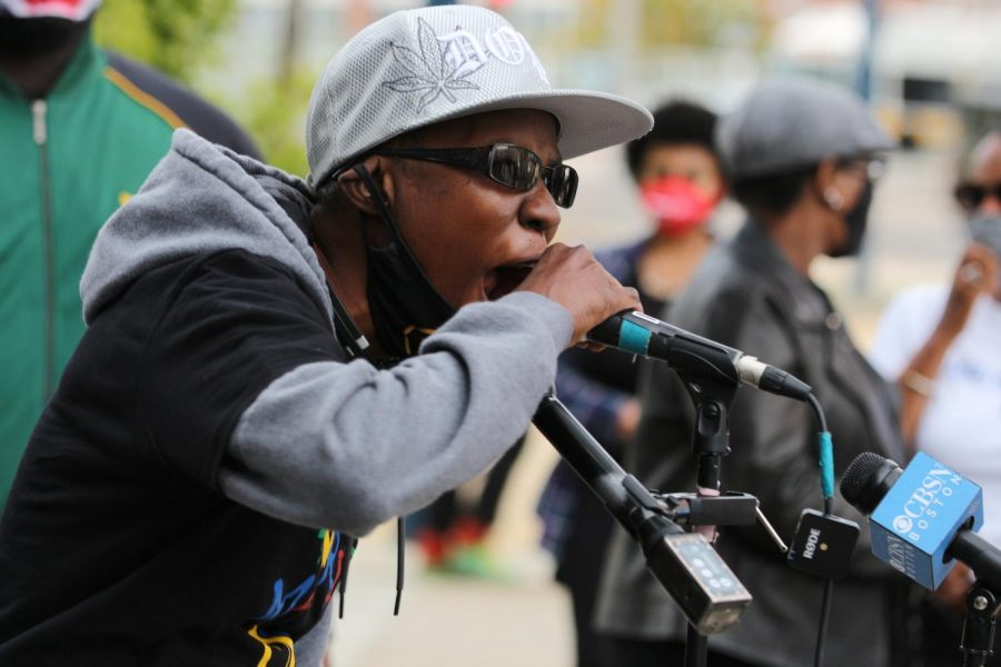 A speaker at the Protect Black Women rally.