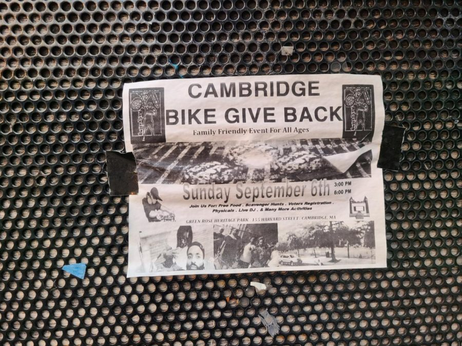 Poster of a Cambridge Bike Give Back event in September.