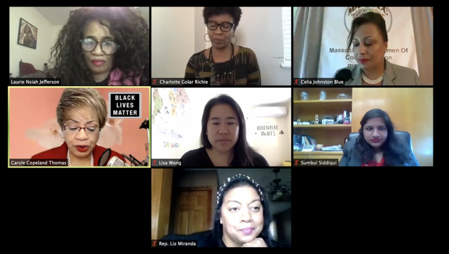 A screenshot of the second session of Standing in Our Power: Women of Color Leading Change on Saturday afternoon.