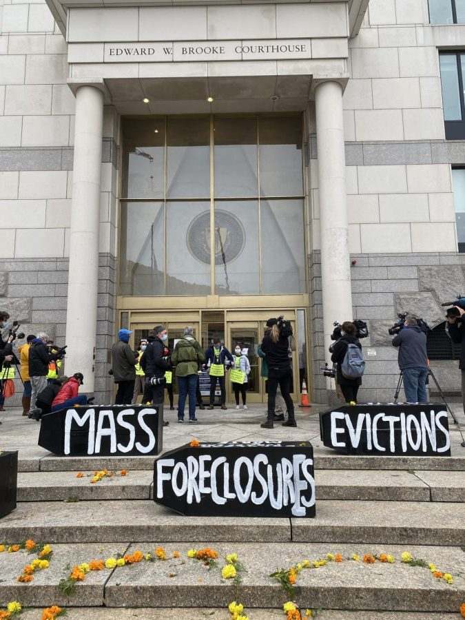 Protesters in front of the Boston's Eastern Housing Court.