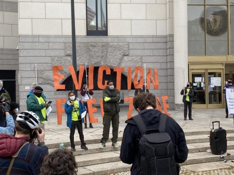 Protesters mobilize for housing stability bill in front of Boston's Eastern Housing Court
