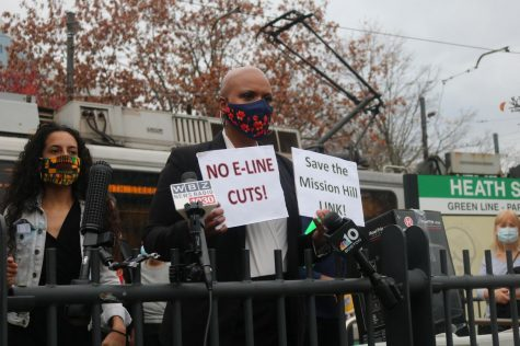 Residents and officials join forces to protest MBTA service cuts at Heath Street station