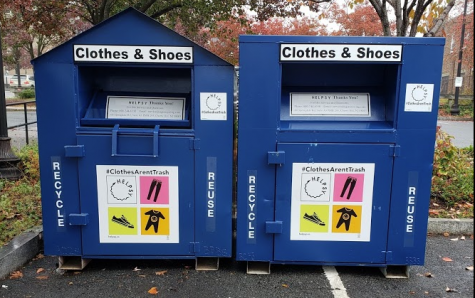 Textiles drop boxes installed by the Boston Public Works Department in partnership with Helpsy