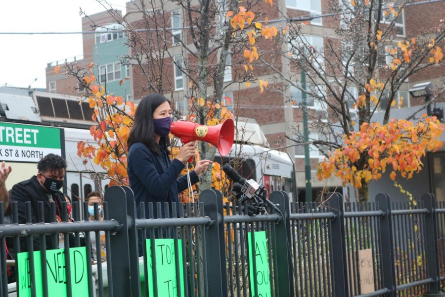 City Councilor Michelle Wu spoke to the crowd at the protest on Wednesday