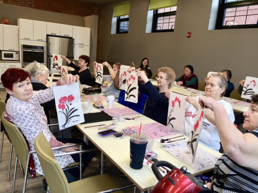 An art class for seniors at the Chinese Culture Connection