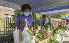 Staff working at The Food Project's affordable Farmers' Market