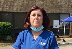 Katie Murphy visits a Massachusetts Nursing Association facility amid the COVID-19 pandemic.