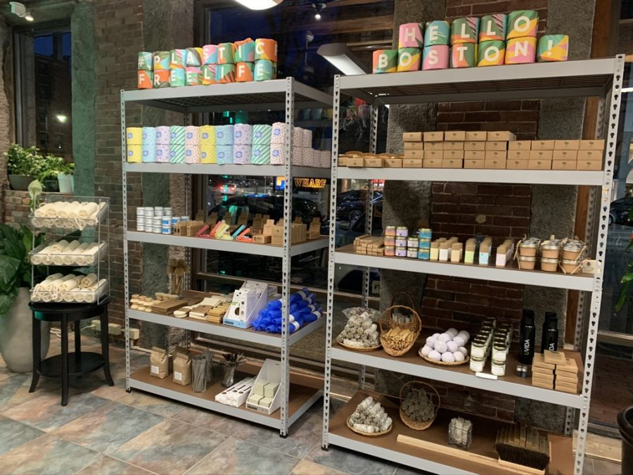 Shelves of eco-friendly products are displayed at UVIDA's new North End location.