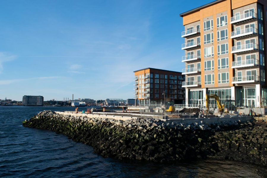 Clippership Wharf, constructed in 2019, features coastal preparedness strategies in its construction.