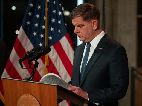 January 12, 2021 - Mayor Martin Walsh delivers the annual State of the City Address from the Roxbury Branch of the Boston Public Library.