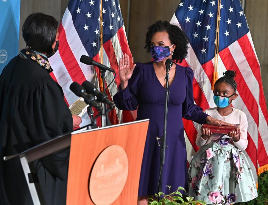 Mayor Kim Janey is sworn in as the 55th Mayor of Boston during a ceremony at Boston City Hall.