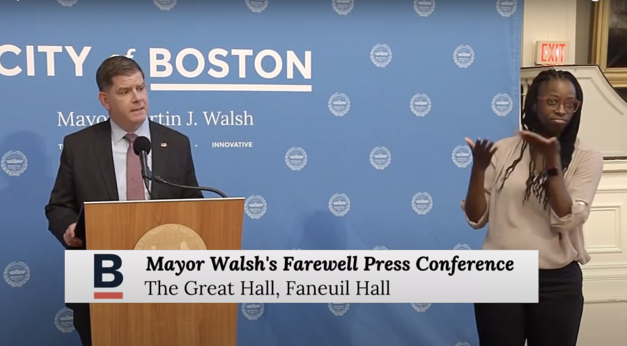 Mayor Walsh at his farewell press conference at Faneuil Hall