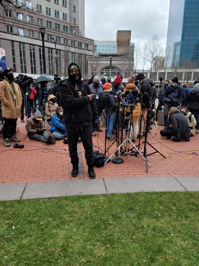 Darrell Jones stands outside the Hennepin County Courthouse April 20 amid a crowd of protesters awaiting the verdict of Derek Chauvin's trial.