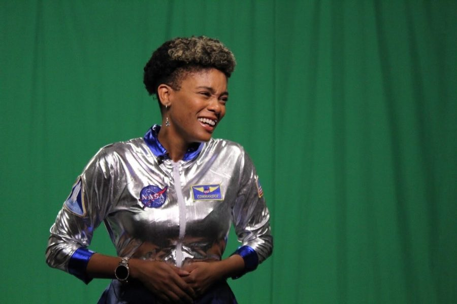 Netia McCray taking on the role of a Mars Explorer on the set of mLab, Mbadika's educational TV show promoting STEM with a twist of pop culture.