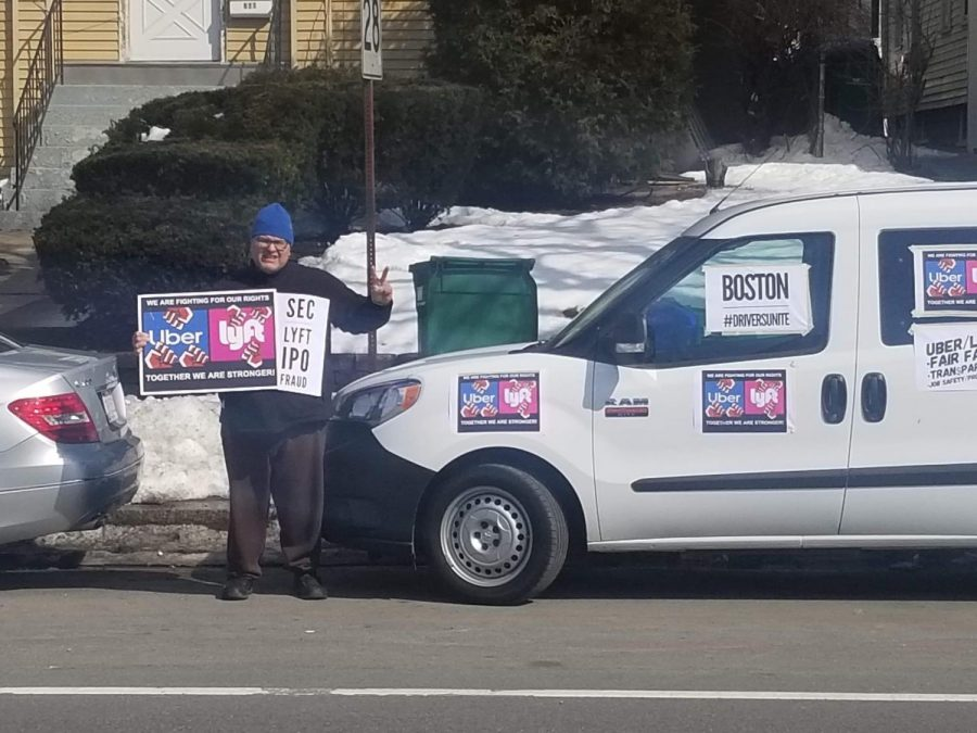 Photo taken during March 2019 protest against rideshare companies.