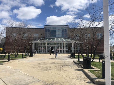 The entrance to the Reggie Lewis Track and Athletic Center, which has been used as a mass vaccination center since February 27.