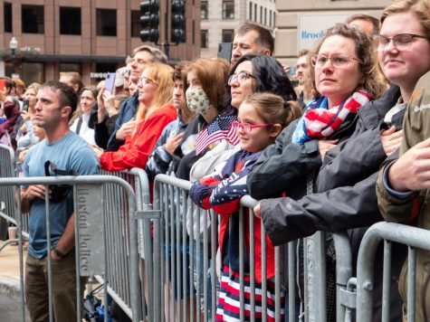 Revelers gathered in front of the Old State House for the annual reading of the Declaration of Independence recited the Pledge of Allegiance.