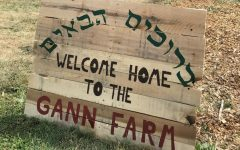 Wooden sign in Hebrew and English lettering in front of garden beds at Gann Farm.