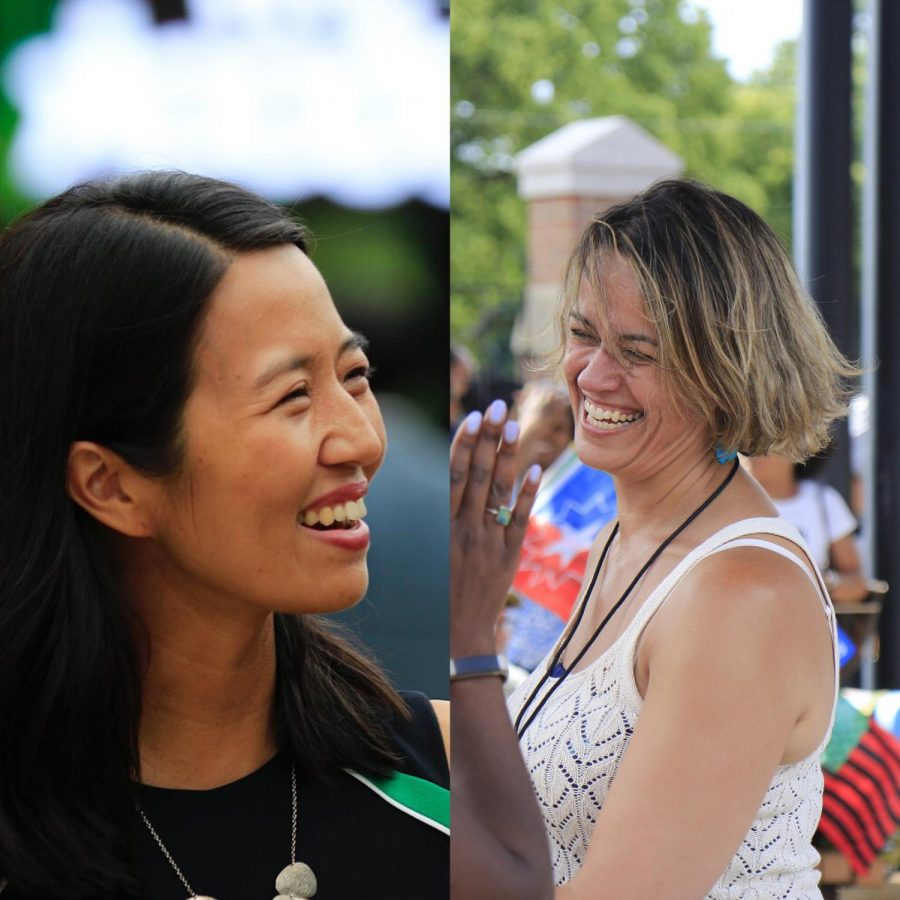 (L-R) Michelle Wu, Annissa Essaibi Georg