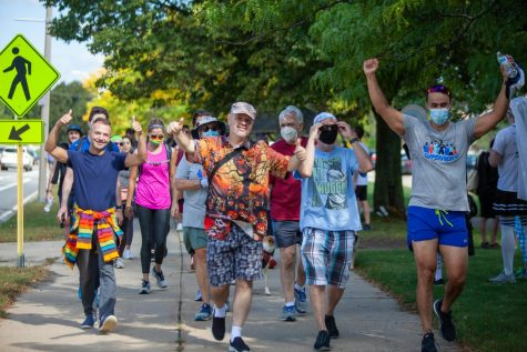 A group of walkers celebrated as they neared the finish line.