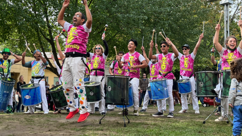 aNova Brazil teaches a dance to the HONK! Festival at Seven Hills Park in Somerville.